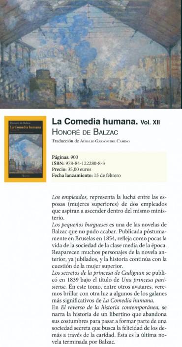 Prepublicación del libro «La Comedia humana XII» de Honoré de Balzac
